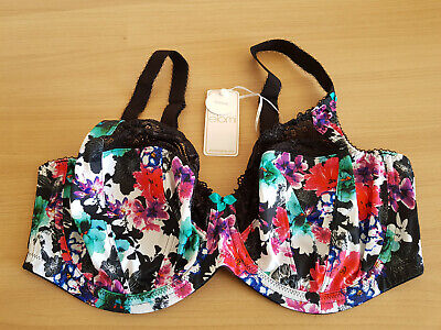 £15 • Buy Elomi 'Jenna' Bra Multicoloured Floral Pattern With Black Lace Size 36FF