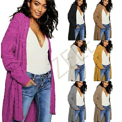 £15.99 • Buy Ladies Oversized Baggy Chunky Cable Knitted Pocket Long Cape Cardigan Uk 8-22