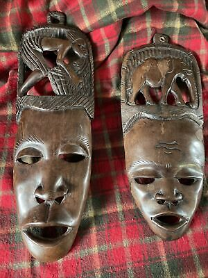 £5 • Buy Pair Of Wooden Hand Carved African Masks