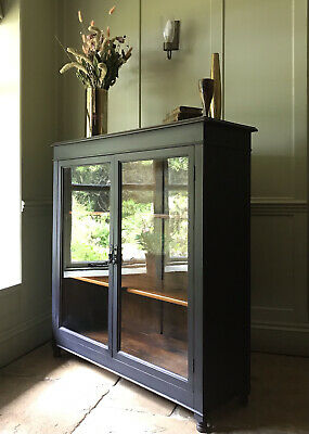 £795 • Buy Antique Early C20th Glazed Painted Black China Display Drinks Cabinet Bookcase