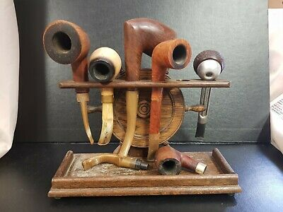 £17 • Buy Vintage Wooden Pipe Rack / Stand And Pipes Lot Savinelli Ashby Hall Barling