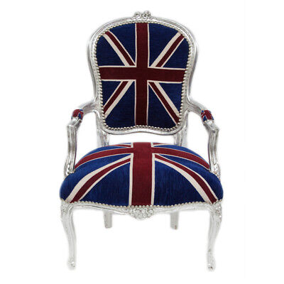£160 • Buy Chairs France Baroque Style Lady Chair With Armrests Silver / Union Jack #55f3