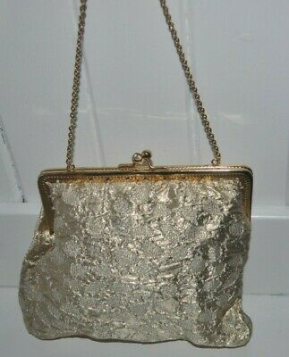 £4.97 • Buy Vintage Gold Fabric Kiss Clasp Bag With Chain Handle