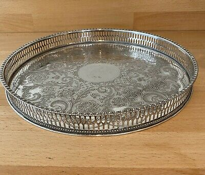 £25 • Buy Beautiful Viners Of Sheffield Vintage Lattice Edge Silver Plated Tray