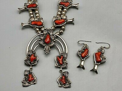 $ CDN2307.65 • Buy Ravishing Red Coral Squash Blossom Necklace And Earrings Set