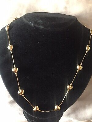 £10 • Buy Vintage Trifari Gold Heart Necklace 28 Inch.