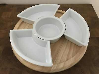 £6 • Buy Wooden Lazy Susan With Dishes Serving Tray Party Occasion Snacks Nibbles Dips