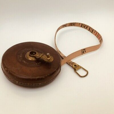 £19.99 • Buy Vintage 66ft Measuring Tape By John Rabone Hockley Abbey England. Leather Case