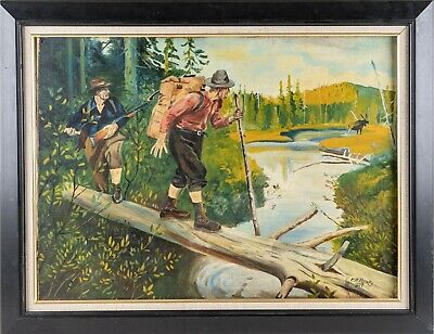 £159.72 • Buy Antique Oil On Canvas Painting Hunting Genre Scene Landscape Signed WPA Style