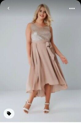 £39.99 • Buy Yours Size 26/28 Dusty Pink Midi Evening Dress Sequin Bodice Wedding Plus Event