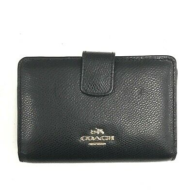 £9 • Buy Coach Purse Women's Black Leather Small Fold Zip Coin Card Holder Pouch 111342
