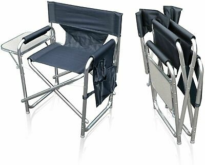 £52.95 • Buy Camping Folding Alloy Sports Directors Chair With Pockets Table Sun-Leisure-Grey