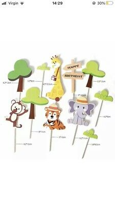 £3.90 • Buy Birthday Cake Toppers Animal Decorations Safari Party Supplies Jungle Them