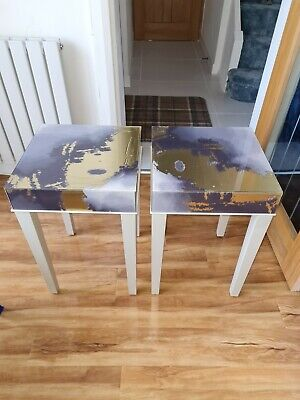 £120 • Buy 2 X Side Tables Liguid Marbled Effect Covered In Glass Tops New