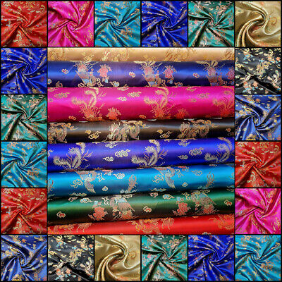 £5.95 • Buy Traditional Brocade Chinese Dragon Dress Fabric Embroidered Silk Satin Oriental