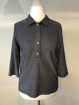 £15 • Buy FRNCH PARIS Blue/Silver Shiny/Glittery Henley Button Up Top 3/4 Sleeves Size M