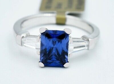 £0.70 • Buy AAA TANZANITE  1.74 Cts  & WHITE SAPPHIRE RING .925 Sterling Silver ** NWT **