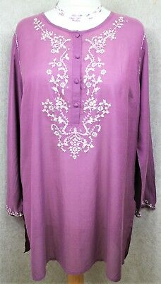 £5 • Buy East ~ Size 18 ~ Floaty, Lightweight Purple Cotton, Embroidered Kaftan Style Top