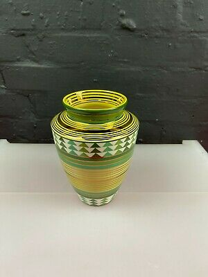 £49.99 • Buy Moorland Pottery Chelsea Works Green Yellow Gold Tall Vase 7.75  High