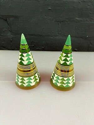 £69.99 • Buy 2 X Moorland Pottery Chelsea Works Green Yellow Gold Sugar Shakers Pair 5.5