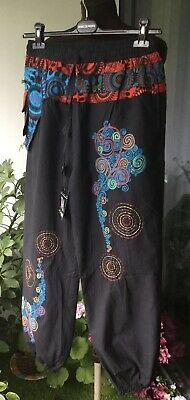 £21.80 • Buy Size 14,16 Harem Trousers, Cotton, Desigual Style Embroidery, Boho, Querky!