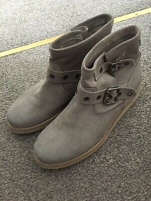 £8.99 • Buy Grey Suede Leather Ankle Boots With Buckle Size 6 BNWOT