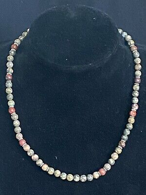 """£4.95 • Buy Gorgeous 18"""" Picasso Jasper Necklace With Sterling Silver Hook Clasp"""