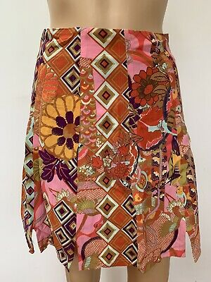 £36.82 • Buy Christian Lacroix Bazar Pink Red Colorful Floral Lined Slits Short Mini Skirt 40