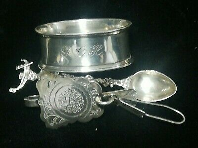 £1 • Buy Solid 835 & 800 Silver Job Lot Antique Spoon, Napkin Ring And Chatelaine