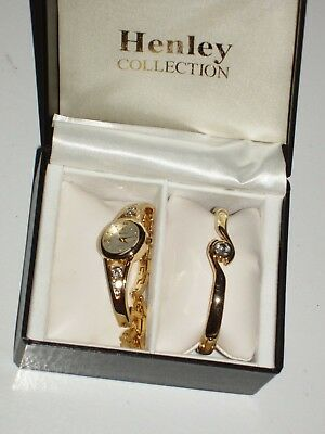 £9.99 • Buy Henley Collection Diamante Gold Coloured  Watch And Matching Bracelet + Spare