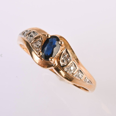 £27.61 • Buy ESTATE! Oval Cut Blue Sapphire And 8 Diamonds, 14k Yellow Gold Ring, Size 6 1/4