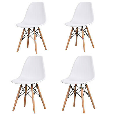 £69.99 • Buy Set Of 4 Dining Chairs Wooden Legs Retro Eiffel Lounge Office Chairs Plastic