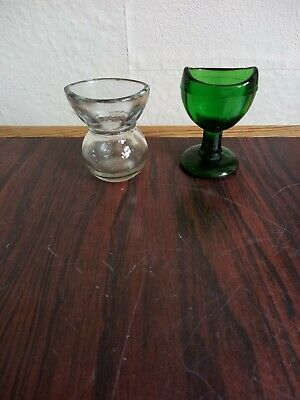 £12.95 • Buy Two Victorian Antique British Made Pressed Glass Eye Baths, One Green, One Clear