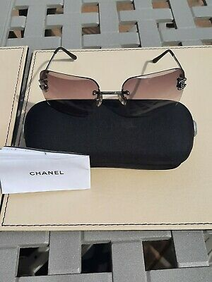 £100 • Buy Vintage Chanel Rimless Sunglasses With Case And Booklet