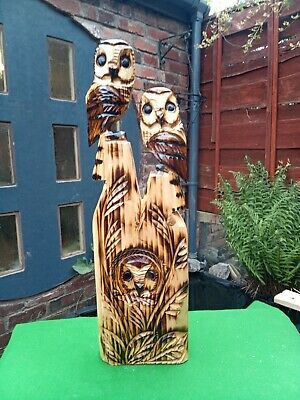 £50 • Buy Chainsaw Wood Carving Of Three Owls Garden Ornaments
