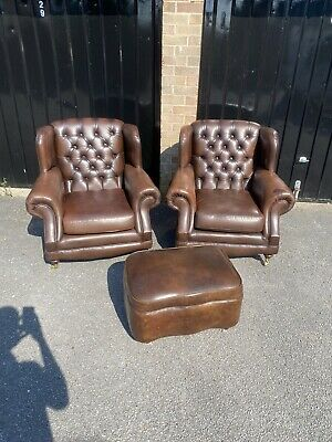 £595 • Buy Pair Of Brown Leather Chesterfield Wing Chairs Thomas Lloyd With Footstool