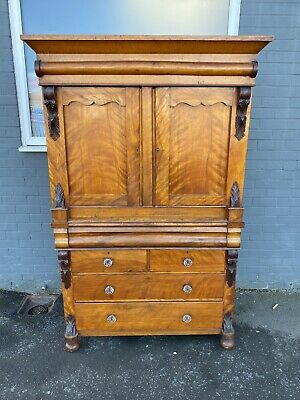 £550 • Buy Antique Mahogany Victorian Linen Press Wardrobe Compactum With Shelves Drawers