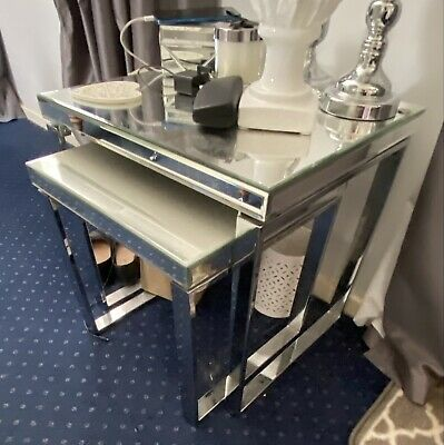 £30 • Buy Very Mirrored And Chrome Nest Of Two Tables