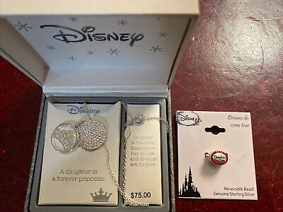 £15.57 • Buy 2 New Disney Jewelry Pieces For A Princess Daughter - Necklace & Ss Bead Charm
