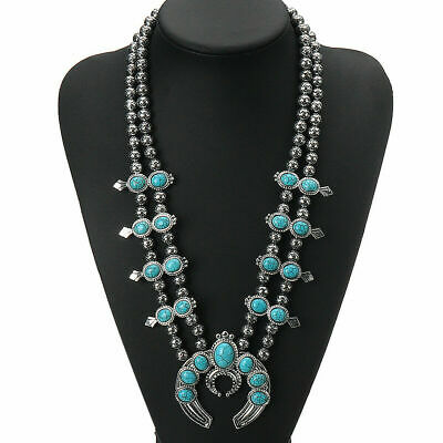$ CDN0.02 • Buy Green Stone Turquoise Blossom Native Pendant Squash Blossom Necklace Jewelry