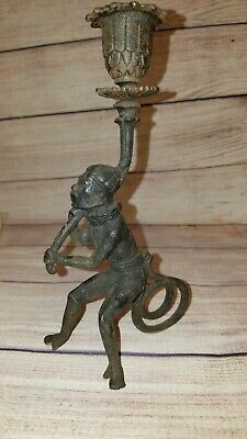 £19.82 • Buy Antique? Chinoiserie Monkey Chimpanzee Cast Iron Taper Candle Holder Unusual Odd