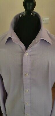 £6.99 • Buy TM Lewin, 16.5 , Cotton/Linen, Double Cuff, Slim Fit, Lilac Long Sleeved Shirt