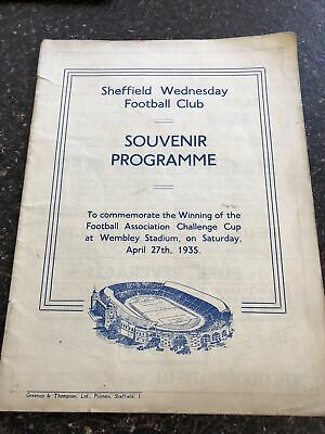 £35 • Buy FA CUP FINAL SOUVENIR  PROGRAMME 1935 Sheffield Wednesday V Grimsby Town