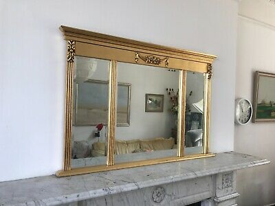 £125 • Buy Regency Style Overmantle Gilded Mirror In Three Sections.