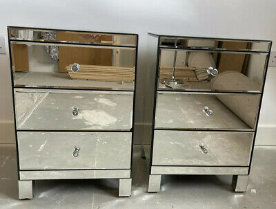 £150 • Buy Mirrored 3 Draw Bedside Cabinets