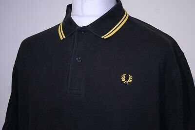 £10.50 • Buy Fred Perry Twin Tipped Polo Shirt - XXL/2XL - Black/Bright Yellow - M1200 - Top