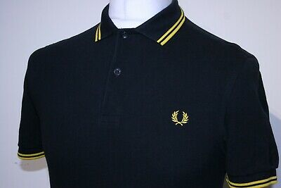 £0.99 • Buy Fred Perry Twin Tipped Polo Shirt - S - Black/Bright Yellow - M3600 - Casual Top