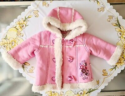 £10 • Buy Ladybird Baby Girls Furry Pink Warm Cosy Faux Leather Jacket Coat 6-9 Months