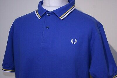 £0.99 • Buy Fred Perry Twin Tipped Polo Shirt -XL/XXL/2XL- Regal/Bright Yellow/White - M1200