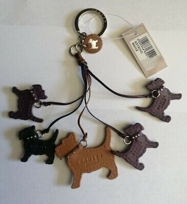 £11.50 • Buy Radley 5 Leather Dogs Keyring/hand Bag Charm - New With Tags